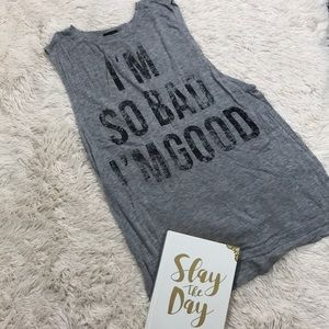 Wetseal Gray Graphic Tank Top